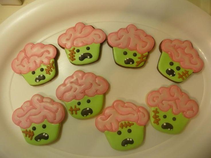 Brainiac Zombie cookie using a cupcake cookie cutter