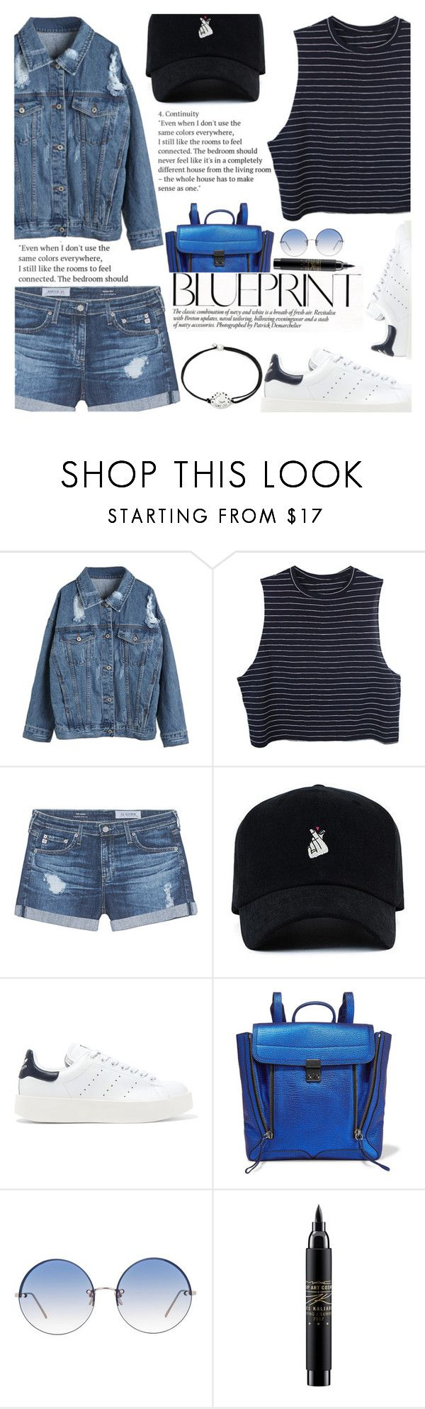 """Untitled #2210"" by anarita11 ❤ liked on Polyvore featuring WithChic, AG Adriano Goldschmied, adidas Originals, 3.1 Phillip Lim, Linda Farrow, MAC Cosmetics and Alex and Ani"