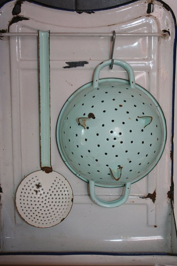 French Vintage Enamel Colander Strainer by FromParisToProvence