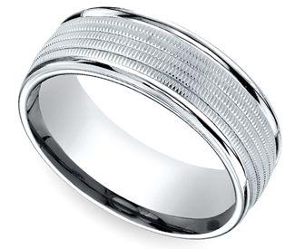 Multi Milgrain Men's Wedding Ring in White Gold