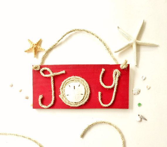 Red Joy Sign, Gift Under 30, Wood Joy Sign,  Ready to Ship, Nautical Christmas Decor, Christmas Door Hanger, Wooden Christmas Joy Sign