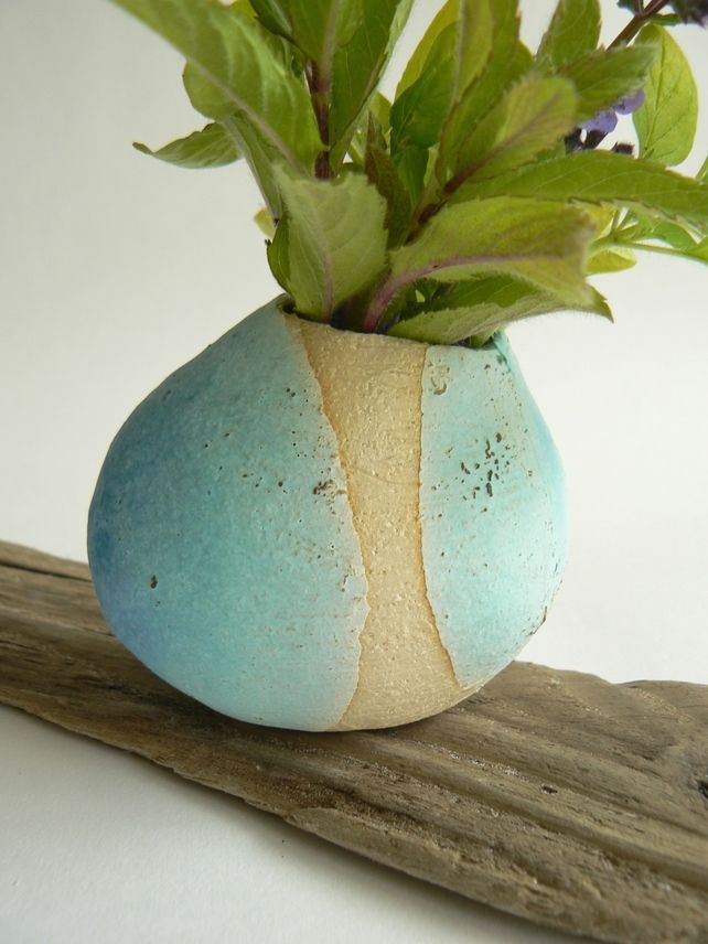 Turquoise Ceramic Pebble Vase £20.00