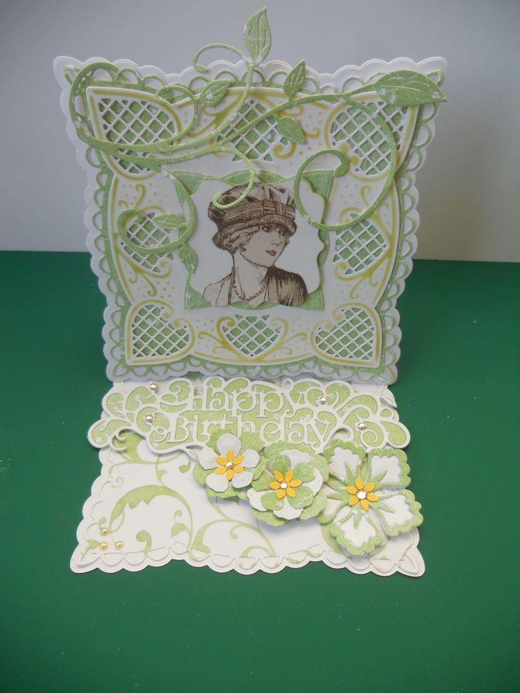 Marianne LR 0242 Anja's squares Spellbinders roses, Cheery Lynn flourish, Tonic Happy Birthday