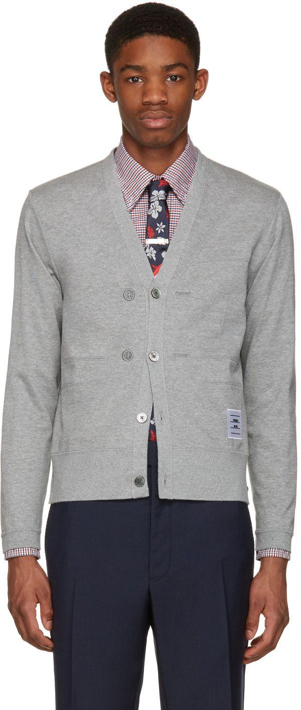 Thom Browne - Grey Trompe L'Oeil Sport Coat Cardigan