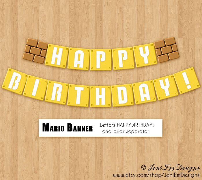 mario birthday banner - Google Search