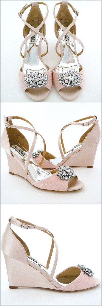 Badgley Mischka Tacey. Ultra feminine light pink wedges. Wedge wedding shoes.