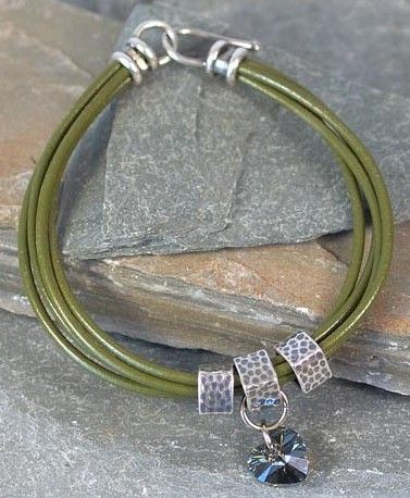 Greek leather bracelet tutorial with a crystal heart.  I love hearts. ;)