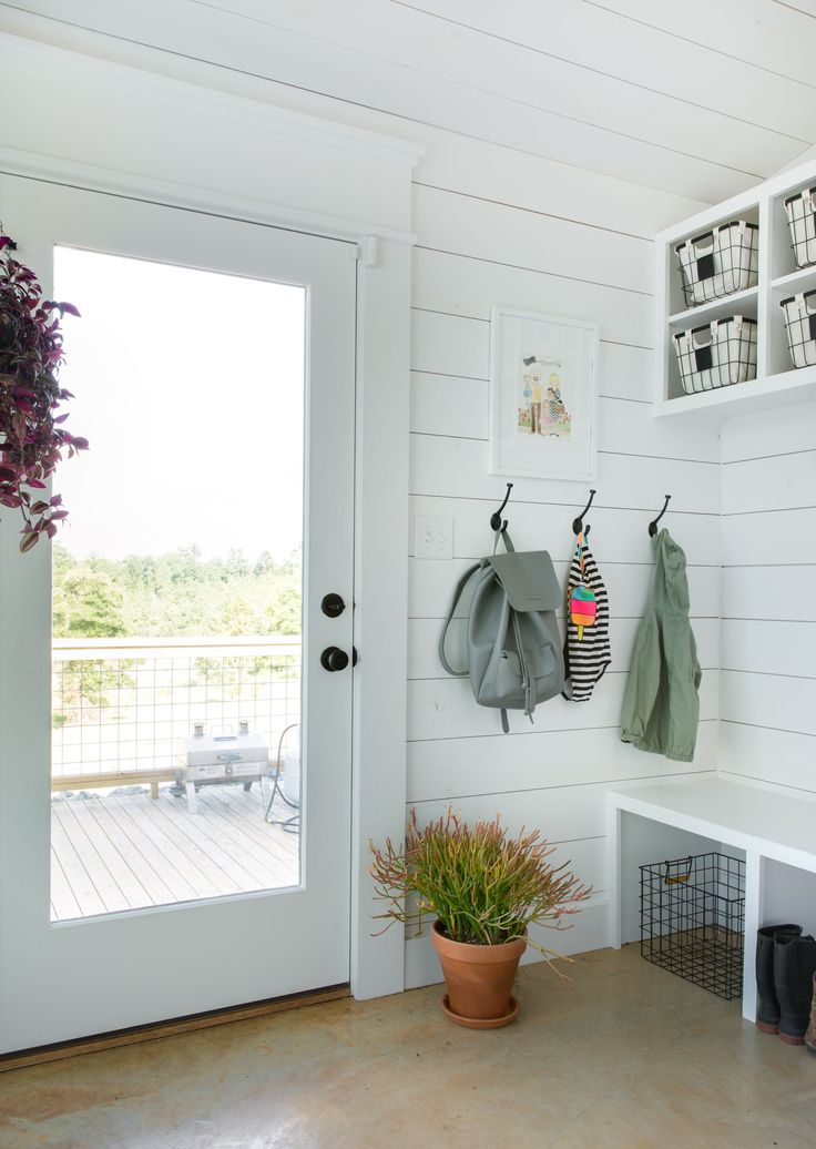 The mudroom, complete with a Kelly Moore Bag!