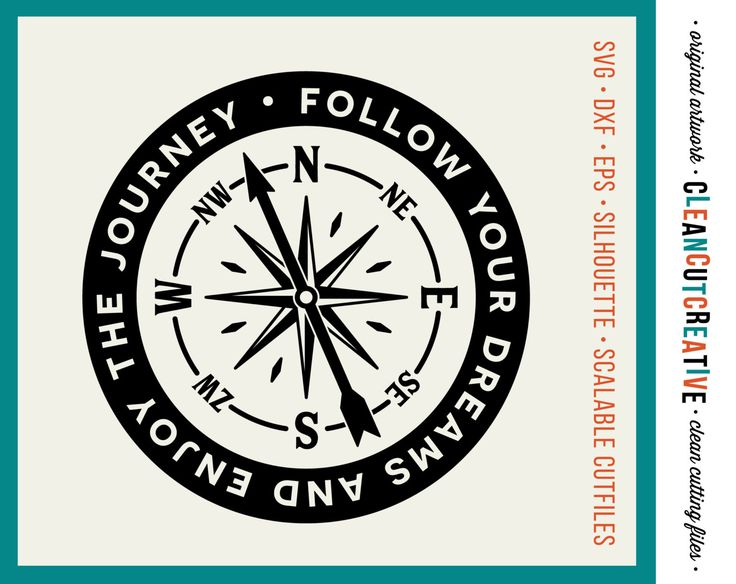 SVG Follow Your Dreams svg Enjoy the Journey svg Inspire svg Motivate svg  Compass svg. 17 Best images about Inspire Quotes Sayings SVG DXF cut files for