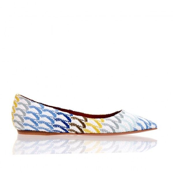 Missoni Crochet-Knit Multi Coloured Ballet Pump ❤ liked on Polyvore featuring shoes, pumps, missoni shoes, ballet flat shoes, colorful pumps, colorful shoes and multi color shoes