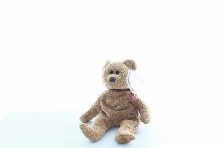"""Ty Beanie baby bean bag plush stuffed animal Curly the teddy bear tan 9"""""""