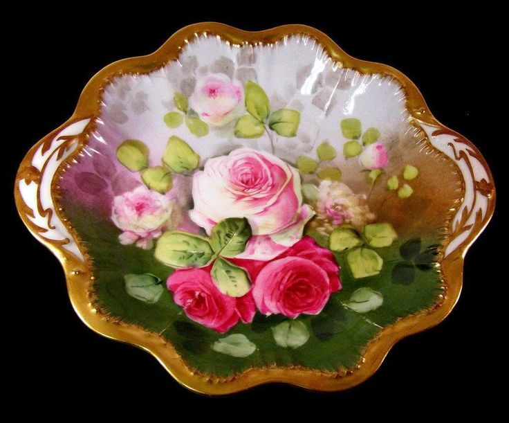 Limoges Hand Painted Victorian Roses Cake Plate Artist Signed Leon | Pottery & Glass, Pottery & China, China & Dinnerware | eBay!