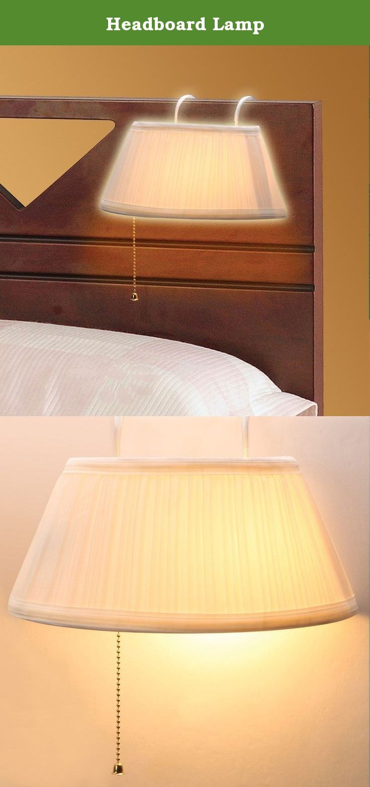 "Headboard Lamp. Hang this Headboard Lamp over your headboard for convenient lighting. It hangs using sturdy vinyl coated metal hooks (fits a surface up to 1-1/2"" thick) and can easily be moved where needed. It's perfect for reading, and you don't have to get out of bed to turn it off. On/off pull chain. Requires a 40-Watt bulb. 10-1/8""W x 5-3/4""D x 5""H. Plastic and metal with a cotton shade."