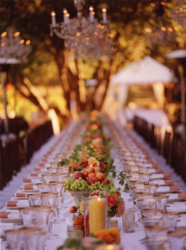 Gorgeous table runner of fruit! photo by San Francisco wedding photographer Meg Smith via Junebug Weddings