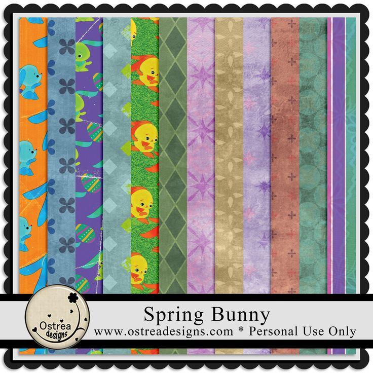 Spring Bunny Paper pack ostreadesigns.com
