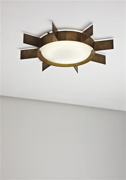 Gio ponti brass sole ceiling light for arredoluce vintage interior lighting spokes design style