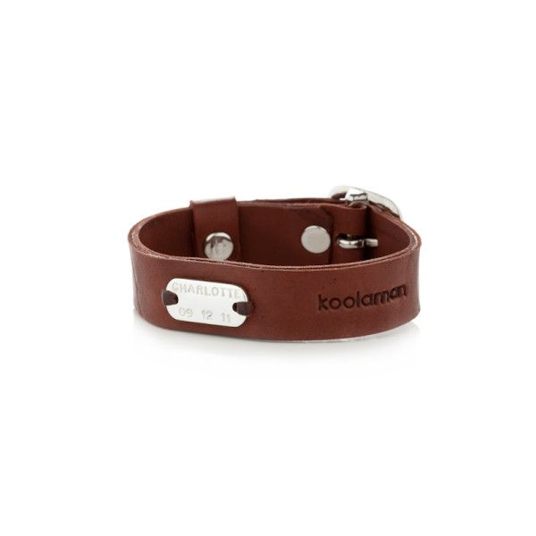Ned personalised sterling silver and leather cuff