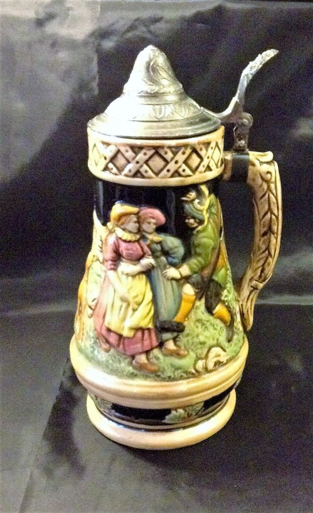 "Vintage Lidded Beer Stein (9-1/2"") Wind-up Music Box Plays ""Beer Barrel Polka"""