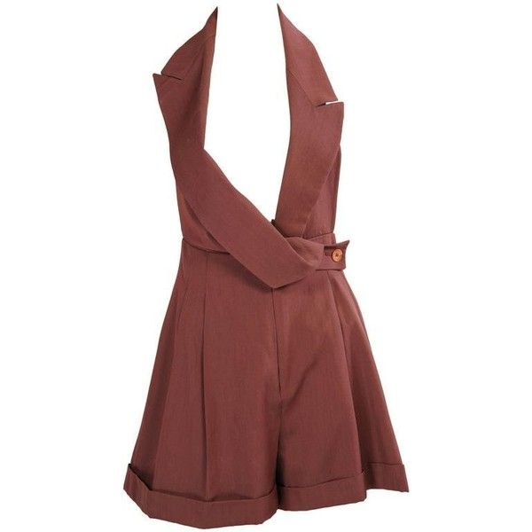 Preowned Galliano Halter Top Romper Shorts ($750) ❤ liked on Polyvore featuring shorts, dresses, brown, flat-front shorts, cuffed shorts, drapey shorts, john galliano and formal shorts