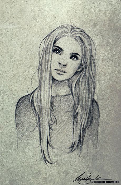 Charlie Bowater ...good reference for straight hair texture drawing. Discover The Secrets Of Drawing Realistic Pencil Portraits... http://pencil-portrait-mastery-today.blogspot.com?prod=dtBr9eeM