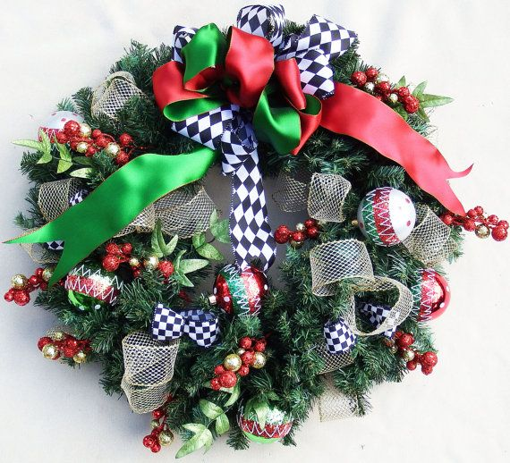Black and White Christmas ribbon wreath Evergreen wreath