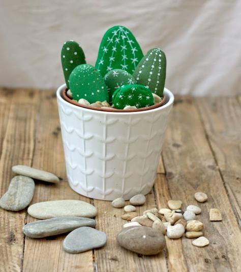 Want a low-maintenance garden? Paint smooth stones to looklike cacti and nestle into a planter just the same. No watering or sunlight required!