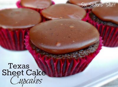 Texas Sheet Cake Cupcakes- so fudgy and delicious! SixSistersStuff.com #cupcakes #chocolate #dessert