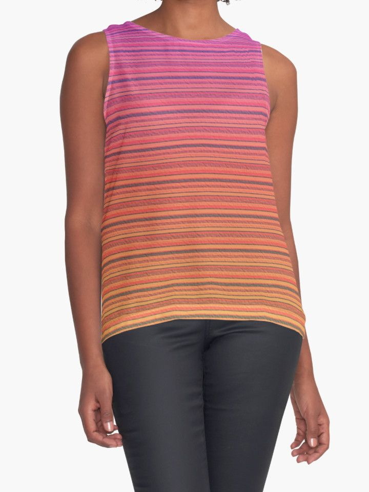 Refracted Stripes Sunset Contrast Tank by TC-TWS