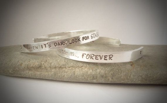Personalised cuff bangle bracelet with any by CherryTreeCharm, £12.00
