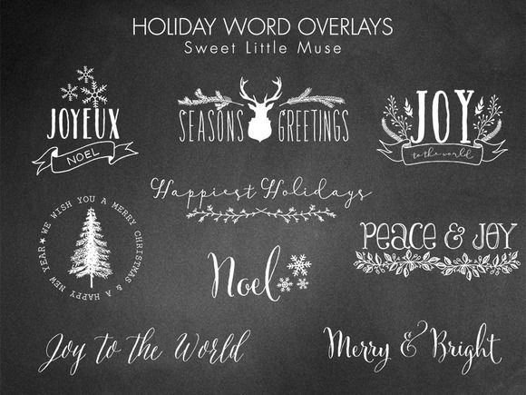 Set of 18 holiday overlays make it quick and easy to customize your clients holiday photos!