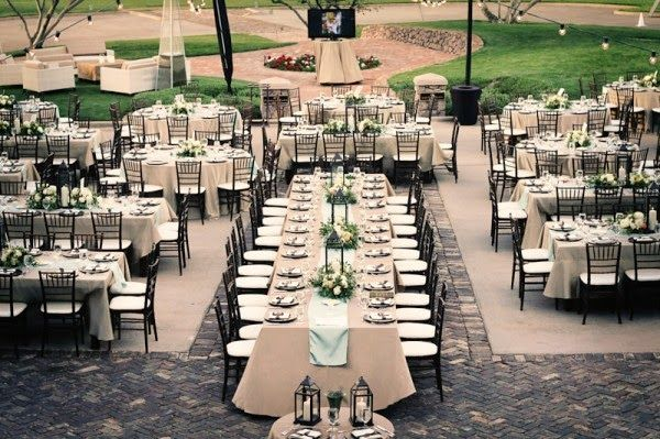 I just love mixing it up with round and family-style seating! Adds interest! Wedding reception seating arrangements: Pros and cons for every table layout - Wedding Party