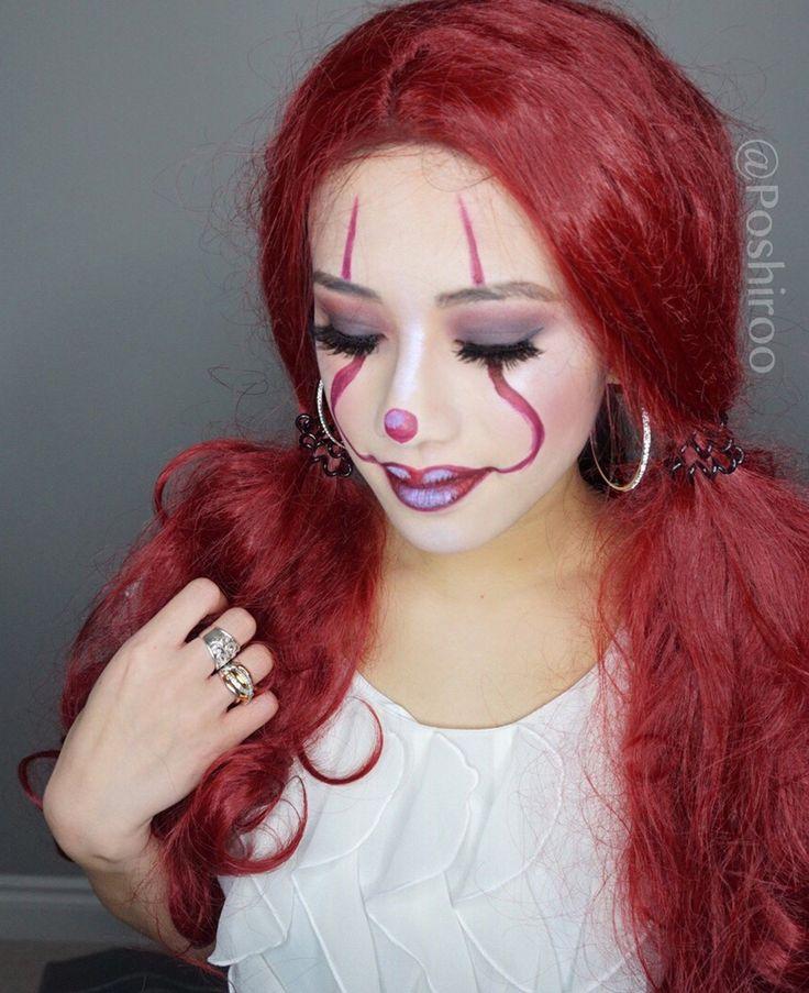 Clown Halloween Makeup Easy DIY Step by Step Tutorial -  Pennywise Costume Ideas Looks - Poshiroo.com #makeuplooksstepbystep