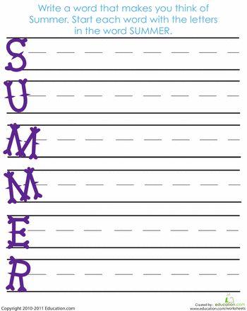Worksheets: Acrostic Summer Poem