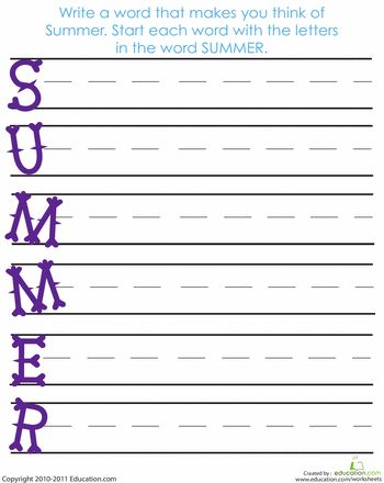 Worksheets: Acrostic Summer Poem