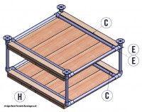 Doe het zelf voorbeeld op bouwtekening voor tafels van steigerbuis.