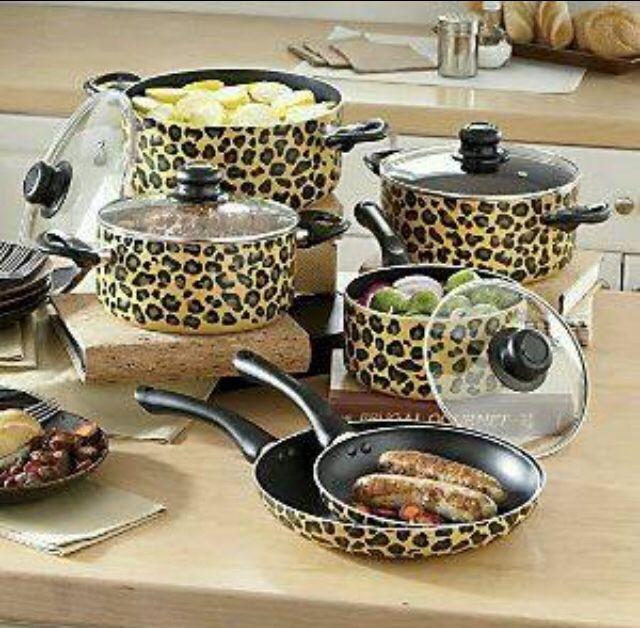 Animal print kitchen pots and pans.