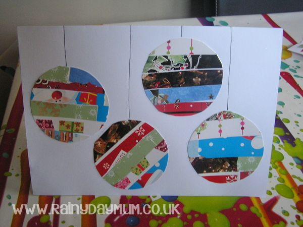Recycled Christmas Cards into a new Card ideal to make with young children