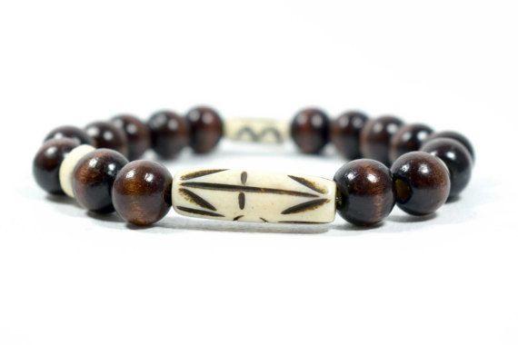 Wood & Carved Bone Beads Bracelet Men by AlterDecoCoinsnBeads