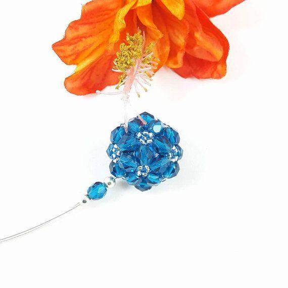 Ciondolo cristallo turchese perline acciaio arte del