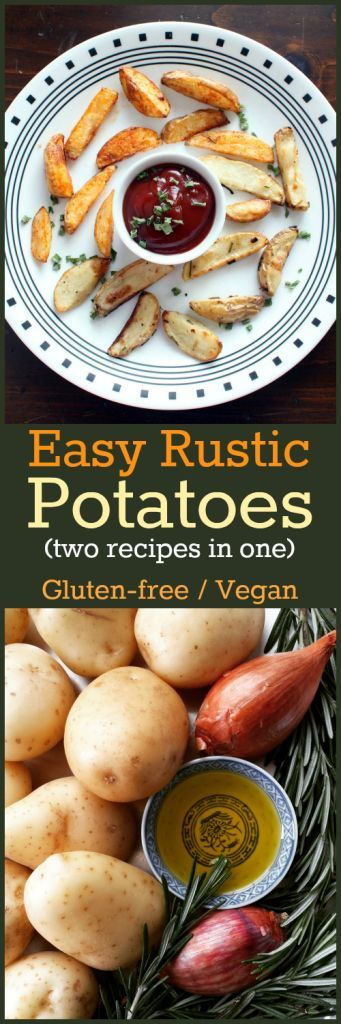 Recipe: Easy Roasted Rustic Potatoes (two recipes in one!) Rosemary, shallots and olive oil or Chipotle Chili powder and olive oil. Make both at the same time with no extra work! Get the recipe at http://www.nutritionicity.com/recipes/recipe-easy-roasted-rustic-potatoes-two-recipes-in-one/
