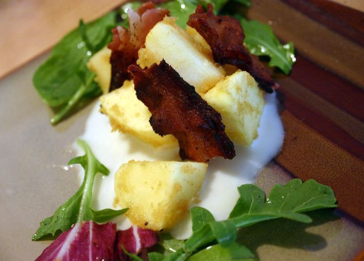 Fuji Apple Salad Kimchi Bacon and Maple Labneh
