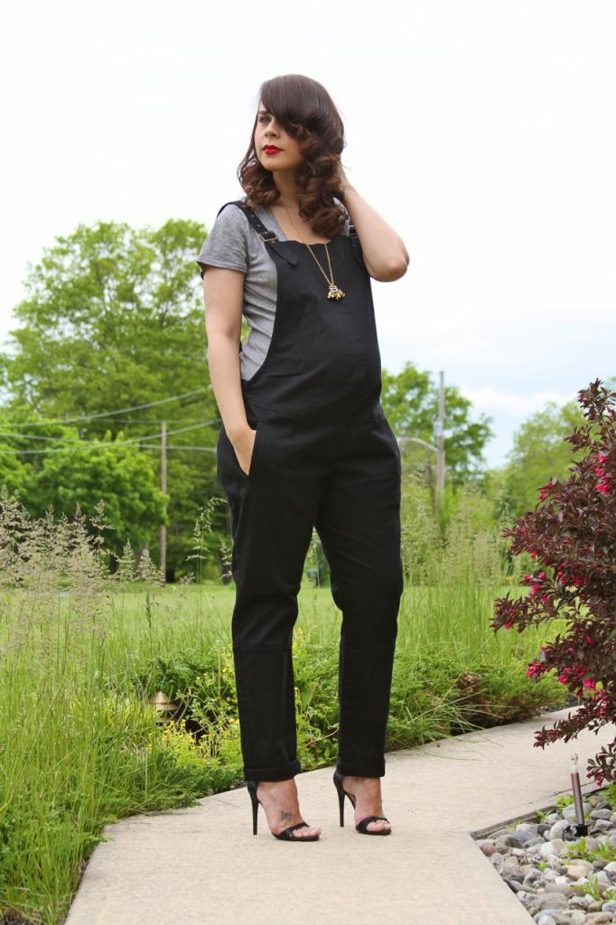 I'm not sure how I feel about the heels, but I'll rock some overalls. Especially if they're that cute.