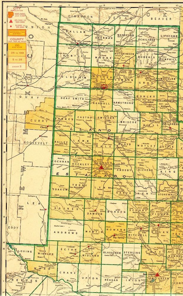 Details about 1944 Vintage TEXAS State Map RAILROADS Antique Map of