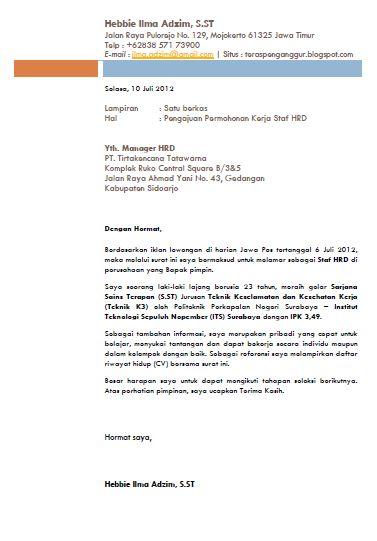Surat Lamaran Kerja Profesional