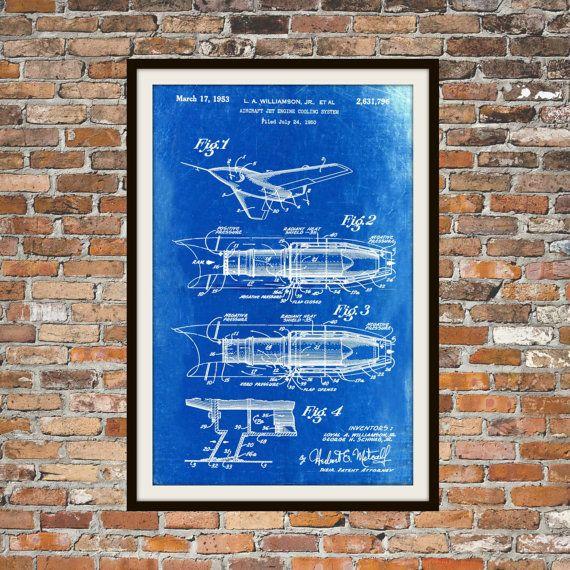 Blueprint Art of Airplane Jet Engine Cooling by BigBlueCanoe