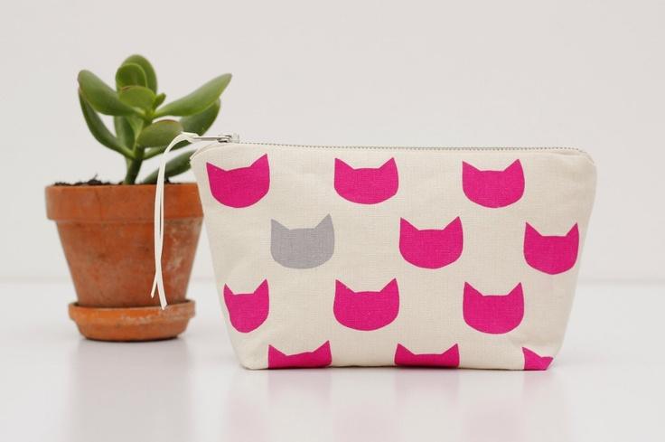 Fuchsia cats grey pouch - screen printed and handmade. $19.00, via Etsy.
