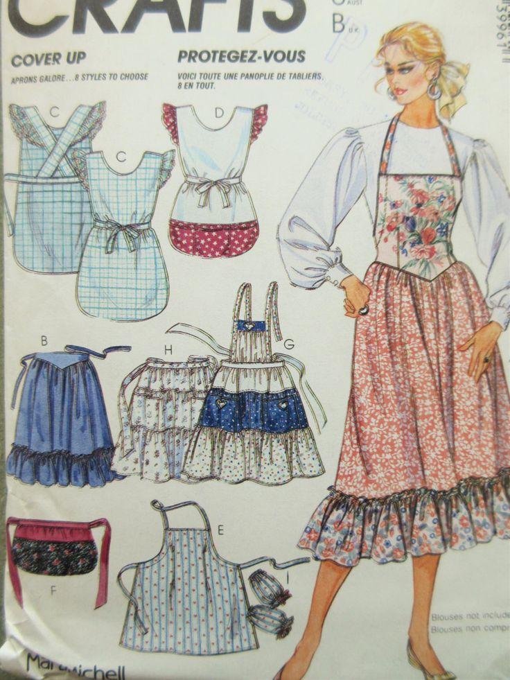 Vintage McCall's 3996 Sewing Pattern, Apron Patterns, Bib Aprons, Marti Mitchell, Ruffled Aprons, 1980s Sewing Pattern, Coverup Pattern by sewbettyanddot on Etsy