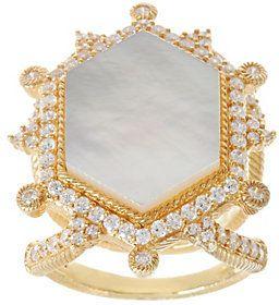 Judith Ripka 14K Clad Diamonique & Mother of Pearl Ring