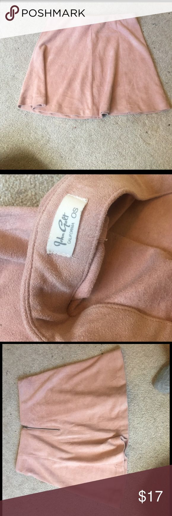 Rare Brandy Melville Suede Pink Skater Skirt one size like new minus small mark on back as pictured (will come off in wash) Brandy Melville Skirts Circle & Skater