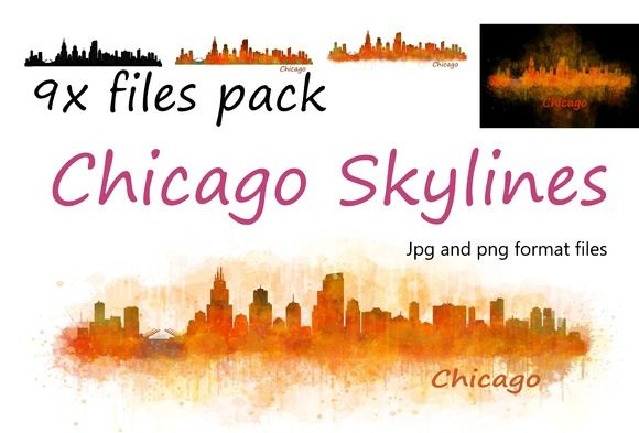 9x files Pack Chicago City Skylines by HQPhoto Store on @creativemarket